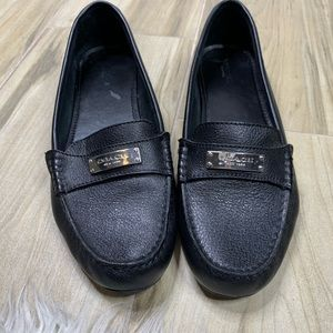 Coach Frederica Black Leather Slip On Loafers